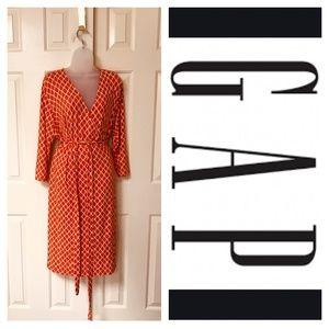 Orange and white Gap wrap dress 2XL